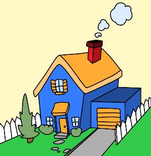 immagine di una casa con camino che fuma